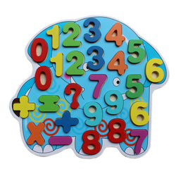 0-9 Wooden Number Puzzle Board With Peg Knobs - Elephant (WNTb077)