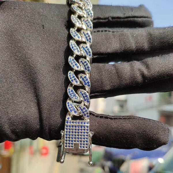 12mm Blue Gold/Silver Paved Iced Out Cuban Chain