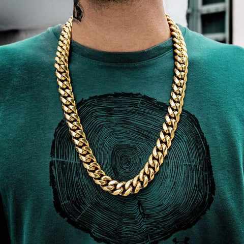Miami Cuban Link Necklace (19mm) in Yellow Gold