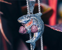Iced Out Diamond Boxing Shark- Gold & Silver.