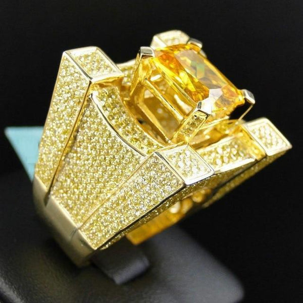Iced Out Large Gold/Silver Diamond Ring