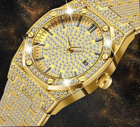 Gold And Diamond Iced Out Gold/Silver Watch.