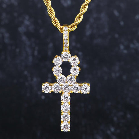 Iced Out Diamond Ankh Pendant