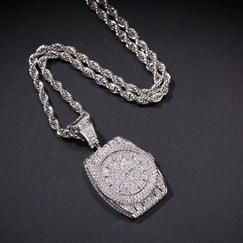 Diamond ICED Out Watch Necklace