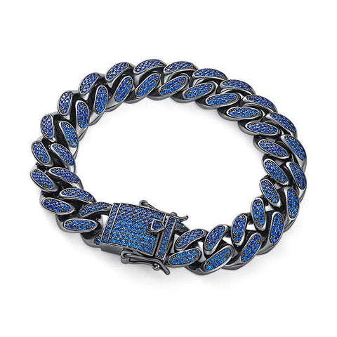 Iced Out Sapphire/Black Diamond Paved Miami Cuban Link Bracelet
