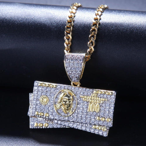 Iced Out Diamond Dollar Pendant