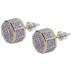 Iced Out Round Gold And Diamond Stud Earrings