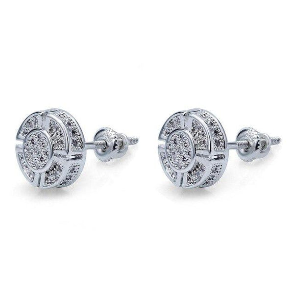 Iced Out Silver Diamond Earrings