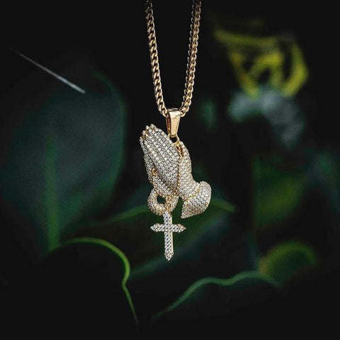 Iced Praying Hands Pendant