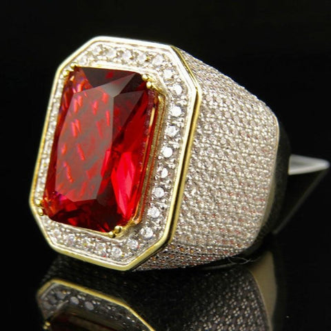 Iced Out Ruby Diamond Ring