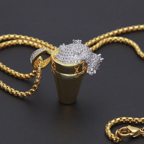 Styrofoam Cup Lean Gold Iced Out Pendant