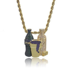 Iced Out 24K Gold Purple Lean Pendant