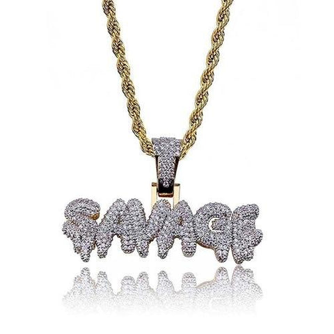 Frozen SAVAGE Iced Out Pendant 24K Gold