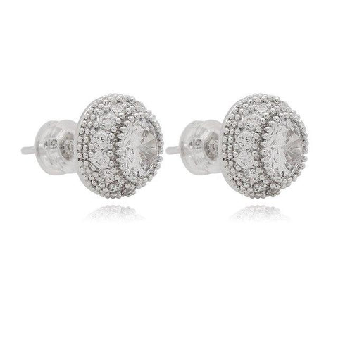 Iced Out Diamond Stud Earrings Round Shape