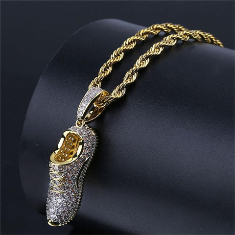 Iced Out Diamond Shoe Pendant