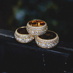 5 Layer Hand-Set Diamond Band Ring
