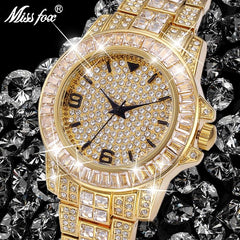 Role Watches Men Top Brand Luxury Missfox Rolexable Waterproof Watch Male Clock Full Diamond Hublo Unisex Quartz Watch With Box