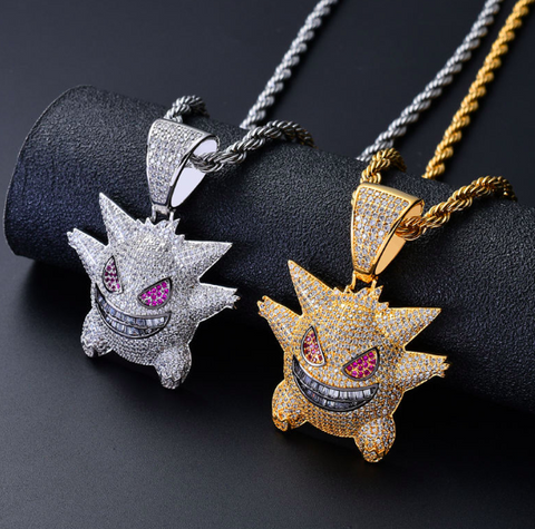Iced Out Pokemon Mask Gengar Pendant
