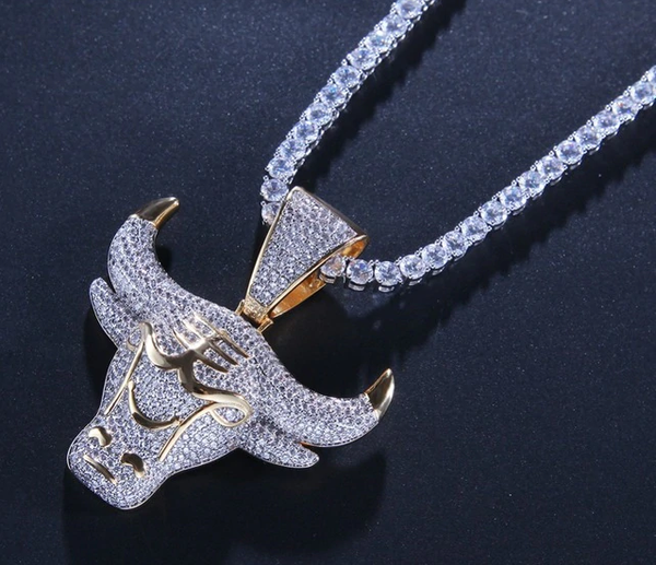 Gold Iced Out Demon King Pendant