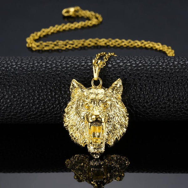 Iced Out Solid Gold Wolf Chain