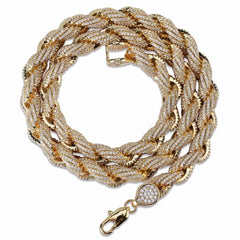Iced Diamond Rope Chain. Silver/Gold