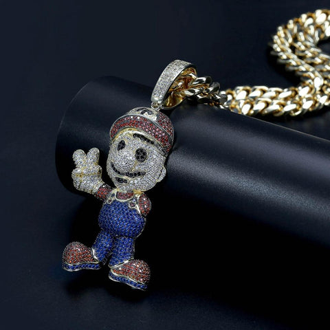 Super Mario Iced Out Gold Diamond Chain