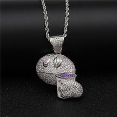 Iced Out Emoji Face Lean Drink Pendant