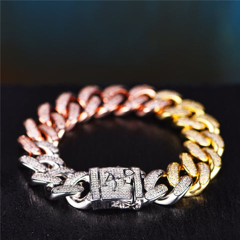 Iced Out Diamond Rainbow Cuban Bracelet