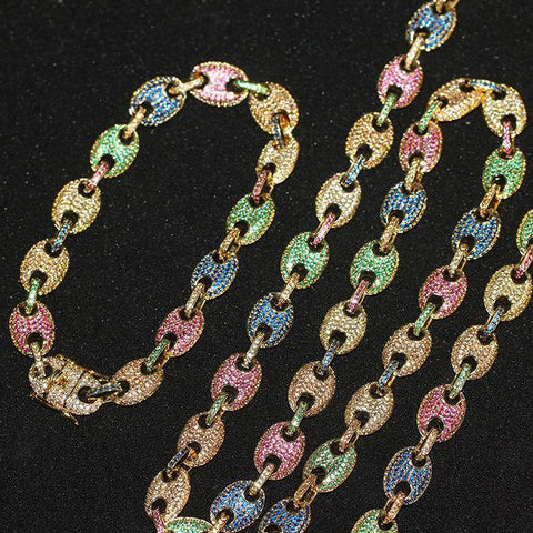 Rainbow Diamond Iced Cuban Chain