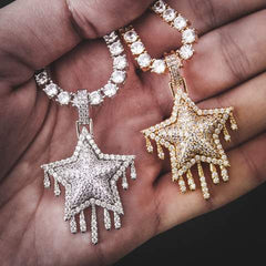 Star Gold Pendant Iced Out Champagne Paved Chain