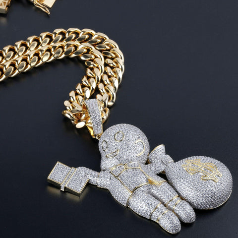 Iced Out Diamond Baby Dollar Bag Pendant