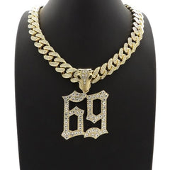 69 Saw Letters Iced Out Pendant