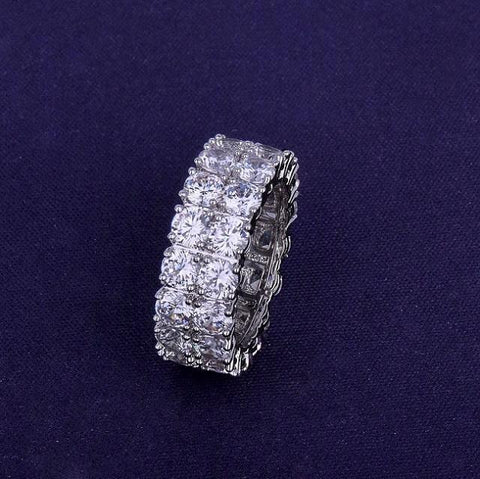 Two Row Solitaire 14k Gold Silver AAA Lab Diamond Iced Out Ring