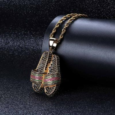 Iced Out Diamond Gucci Slippers Pendant