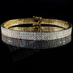 3 Rows Iced Out Yellow Gold Tennis Bracelet