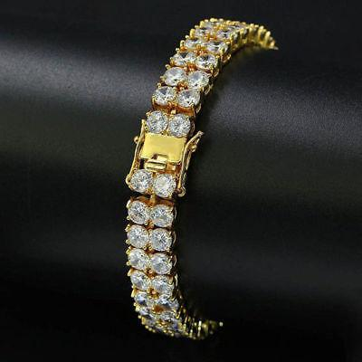 Iced Out 2 Row Tennis Bracelet Rose Gold/Gold