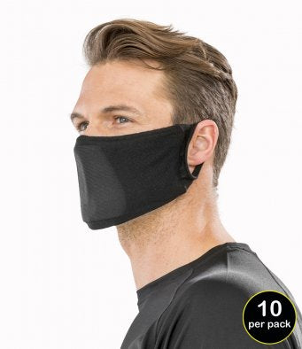 10 PACK RESULT ANTIBAC FACE MASK BLACK OR PINK