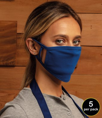 5 PACK PREMIER FACE MASKS ROYAL BLUE OR WHITE