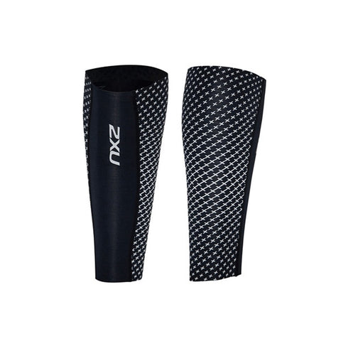 2XU Compression Calf Sleeve, Black/Silver Reflective