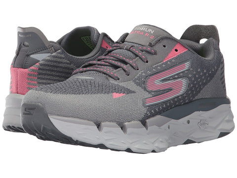 Womens Skechers Go Run Ultra R2 Charcoal Pink