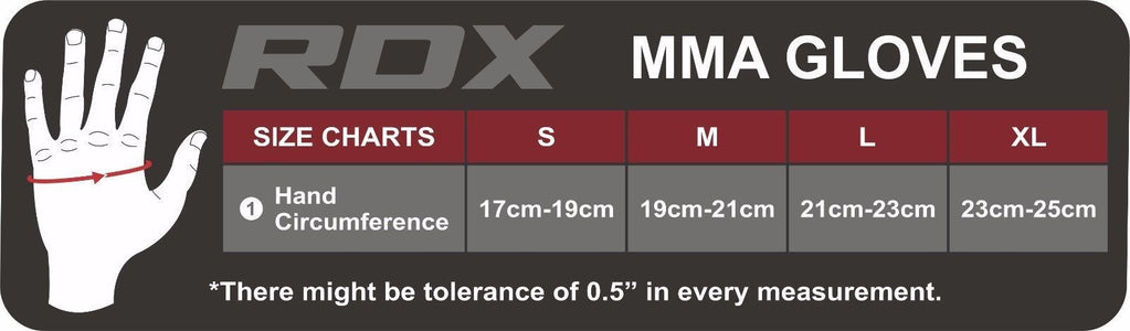RDX F3 LEATHER MMA GLOVES SIZE CHART