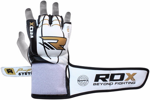 RDX F3 LEATHER MMA GLOVES VELCRO STRAPS