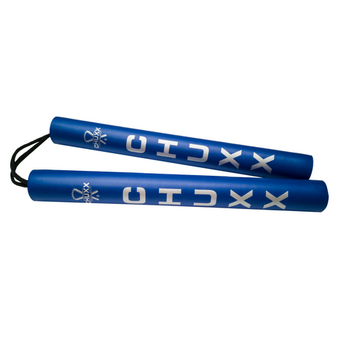 Image of CHUXX Martial Arts Blue Premium Rope Practice Nunchaku with Case
