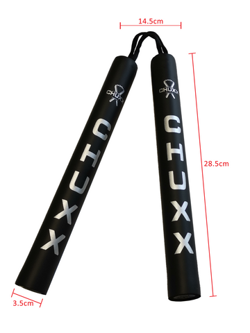 Image of CHUXX Martial Arts Black and Silver Cord Nunchucks Dimensions