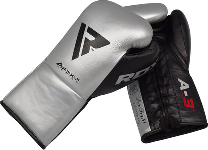 RDX A3 PROFESSIONAL FIGHT BOXING GLOVES - SILVER PAIR