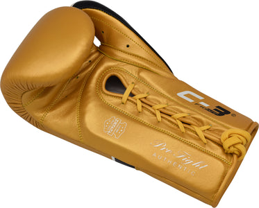 RDX C3 BBBOFC APPROVED PRO FIGHT BOXING GLOVES LACEUP - GOLD PALM DETAIL