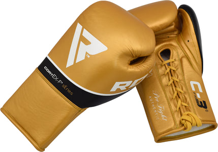 RDX C3 BBBOFC APPROVED PRO FIGHT BOXING GLOVES LACEUP - GOLD PAIR