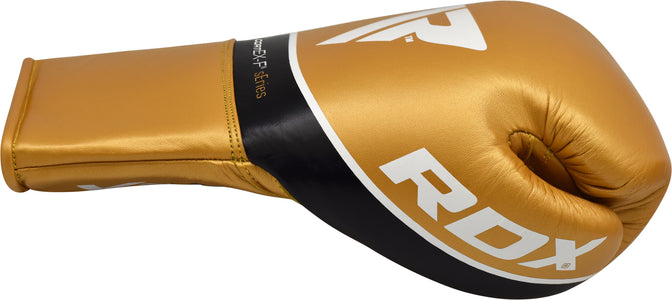 RDX C3 BBBOFC APPROVED PRO FIGHT BOXING GLOVES LACEUP - GOLD THUMB SIDE
