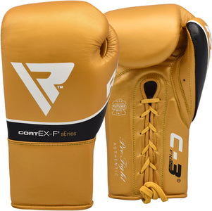 RDX C3 BBBOFC APPROVED PRO FIGHT BOXING GLOVES LACEUP - GOLD