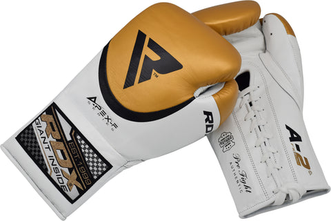 RDX A2 BBBOFC APPROVED PRO FIGHT BOXING GLOVES - GOLD PALM